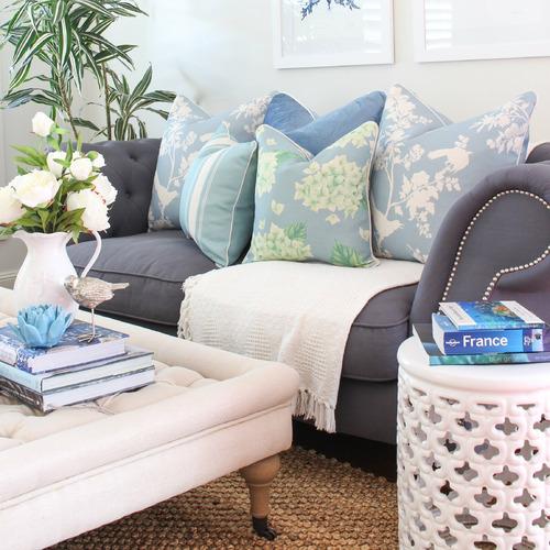 Kate Green Hydrangeas Linen-Blend Cushion Cover