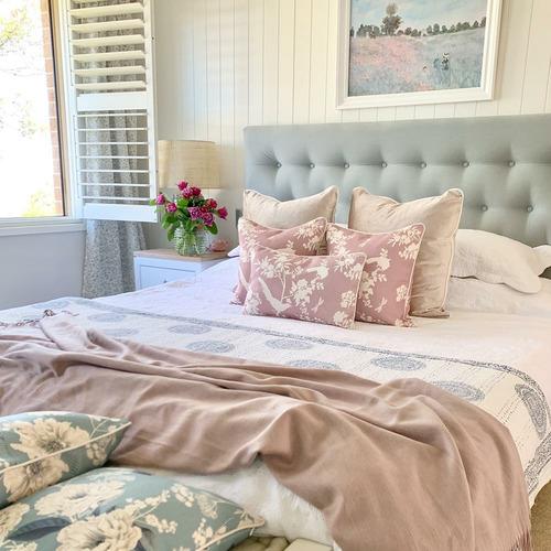 Dusty Pink Louis Linen-Blend Cushion Cover