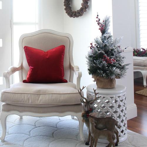 Red Velvet Linen-Blend Cushion Cover