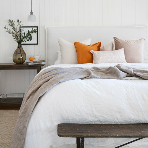 Off-White Bianca Linen-Blend Cushion Cover