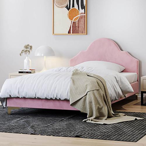 Light Pink Hera Velvet Bed Frame, Pink Upholstered Bed Frame Australia