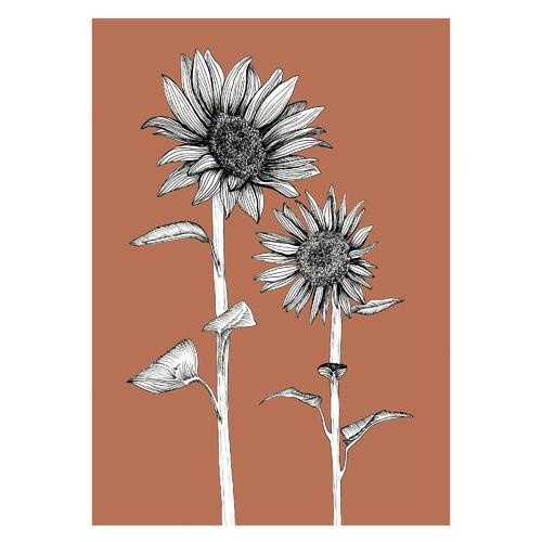 Sunflowers in Terracotta Unframed Paper Print