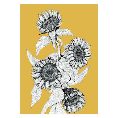 Sunflowers Bunch in Mustard Unframed Paper Print