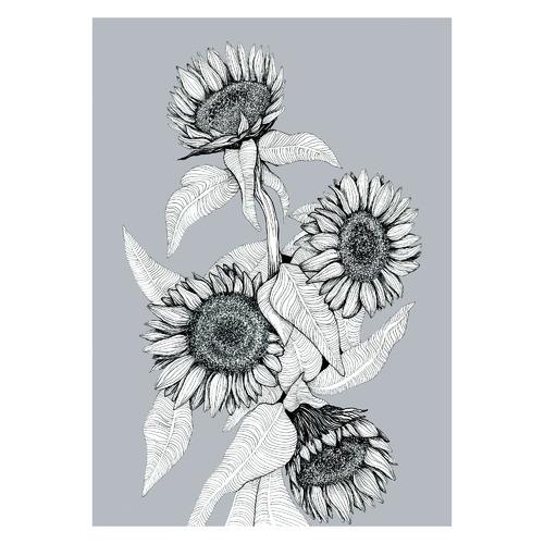Sunflowers Bunch in Gunmetal Unframed Paper Print