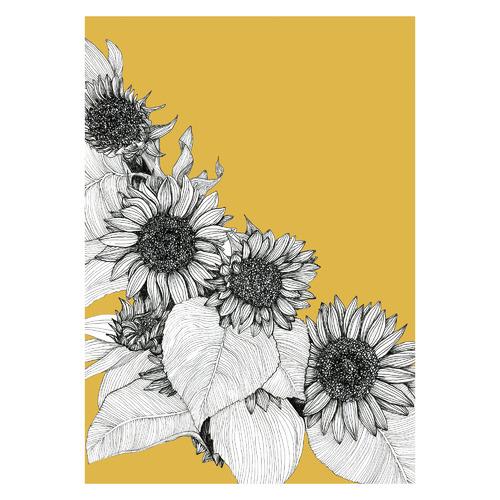 Sunflowers Oblique in Mustard Unframed Paper Print