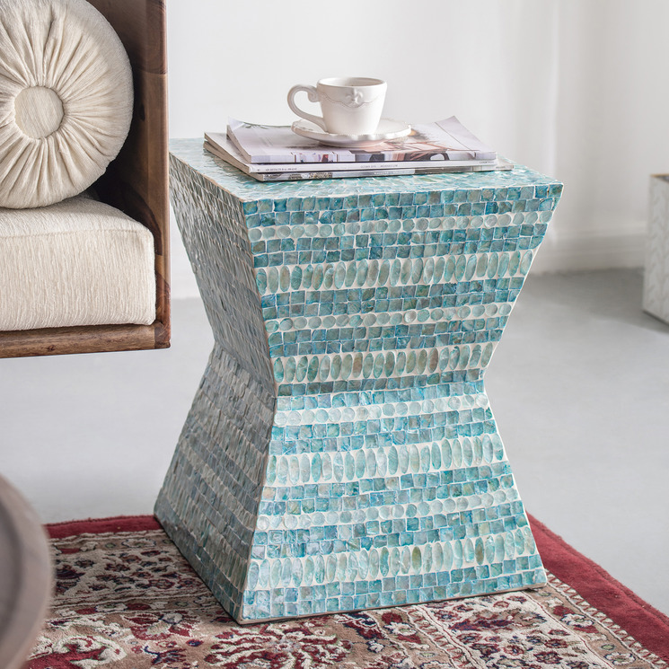 Turquoise Morocco Shell Side Table