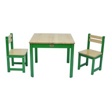 3 Piece Envy Pine Wood Table & Chairs Set