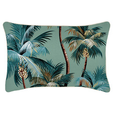 Lagoon Palm Trees Piped Rectangular Outdoor Cushion