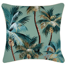 Lagoon Palm Trees Piped Square Outdoor Cushion
