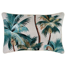 White Palm Trees Piped Rectangular Outdoor Cushion