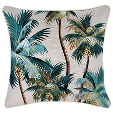 Stone Palm Trees Piped Square Outdoor Cushion