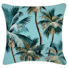 Aqua Palm Trees Piped Square Outdoor Cushion