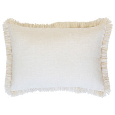 Natural Coastal Fringed Rectangular Cushion