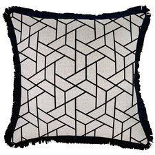 Black Milan Coastal Fringed Square Cushion