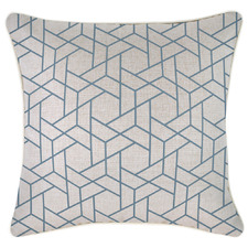 Blue Milan Piped Square Outdoor Cushion
