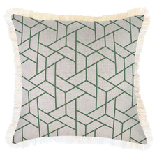 Green Milan Coastal Fringed Square Cushion