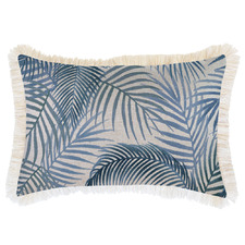 Blue Seminyak Coastal Fringed Rectangular Cushion