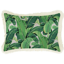 Banana Leaf Natural Retro Fringe Rectangular Cushion