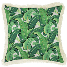 Banana Leaf Natural Retro Fringe Square Cushion