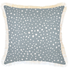 White Coastal Fringe Lunar Square Outdoor Cushion