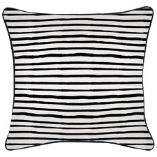 Black Piped Edge Stripe Square Outdoor Cushion