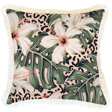 Coastal Fringe Tropical Jungle Square Outdoor Cushion