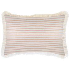 White Coastal Fringe Stripe Rectangular Outdoor Cushion
