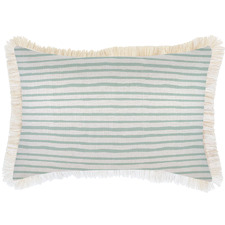 White Coastal Fringe Stripe Rectangular Outdoor Cushion