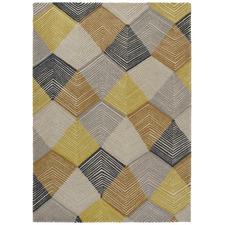 Mustard & Grey Harlequin Rhythm Hand-Tufted Wool Rug