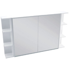 120cm Bevel Mirror Cabinet Set with 6 Shelves