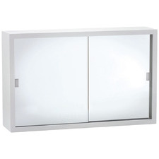 Bevel 2 Panel Glass Mirror Bathroom Cabinet