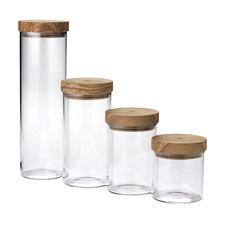 4 Piece Glass & Olive Wood Storage Jars Set