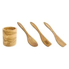 4 Piece Olive Wood Kitchen Utensils Set