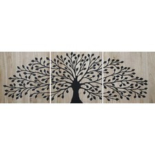 Mangowood Small Tree of Life Reverse Carved Artwork in Black
