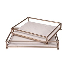 Luxe Marble & Gold Serving Tray (Set of 2)