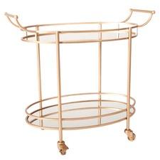 Luxe Brass & Mirror Oval Bar Cart