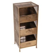 Luxe Brass 3 Drawer Storage Unit