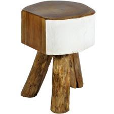 White Cappello Teak Wood Stool