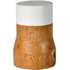 White Dipped Teak Wood Block Vase (Set of 2)