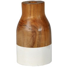 White Dipped Teak Wood Vases (Set of 2)