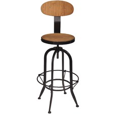 Black Algeo Pine Wood Adjustable Swivel Stool
