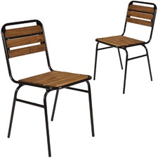 Black Cafe Solid Wood Chairs (Set of 2)