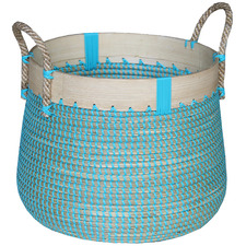 Blue Vishal Bamboo & Seagrass Laundry Basket