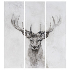 Stag Deer Wooden Triptych Wall Art