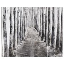 4 Piece Poplar Forest Wooden Wall Art