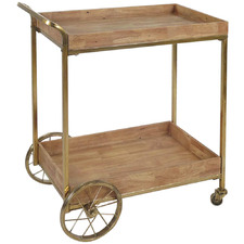 Natural & Brass Luxe Wooden Drinks Trolley