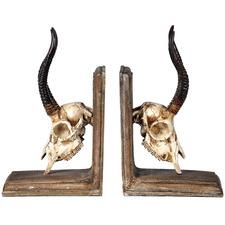 Gazelle Skull Bookends (Set of 2)