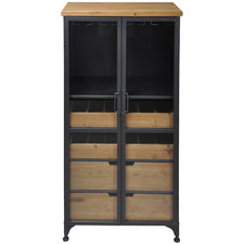 Tall Pavel Metal & Wood Wine Cabinet