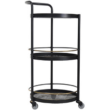 Black & Brass Jules 3 Tier Round Drinks Trolley