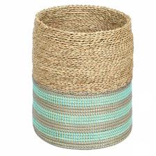 Natural & Teal Viraj Jute Basket